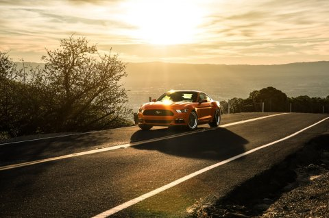 ford-mustang-2015-aristo-collection-california-orange-landscape-mountains-sun-sunset